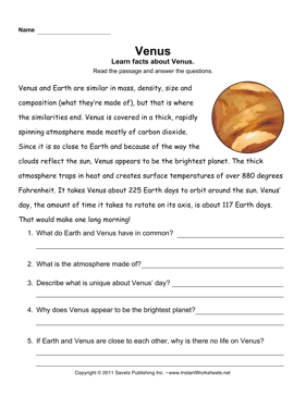 Venus Comprehension — Instant Worksheets