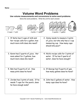 Volume Word Problems — Instant Worksheets