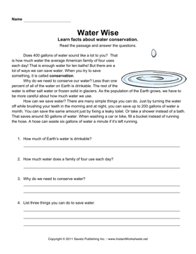 Printables Water Conservation Worksheets water conservation comprehension instant worksheets