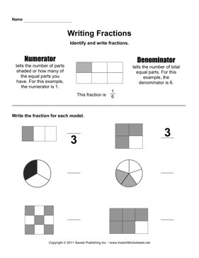 Writing Fractions