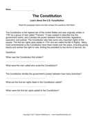 Government Constitution Comprehension