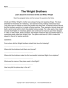 Important Inventors Comprehension Wright Brothers