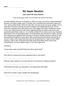 Important Scientists Comprehension Sir Isaac Newton