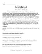 Important Women Comprehension Amelia Earhart