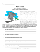 Tornadoes Comprehension