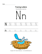 Tracing Letters N